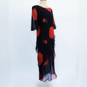 100% silk black and red rose vintage dress.